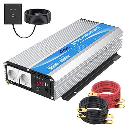 Giandel Inversor de Corriente 3000W Onda Modificada Convertidor 12V 220V 230V con Mando a Distancia Pantalla LED con 2 AC Tomas para Coche de camión Caravana RV