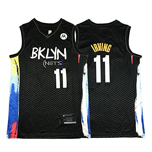 ZGRW Jersey Irving 2021 para hombres, Nets 11 # City Edition camisetas de baloncesto, unisex bordado camiseta sin mangas tejido de poliéster transpirable Negro-XXL