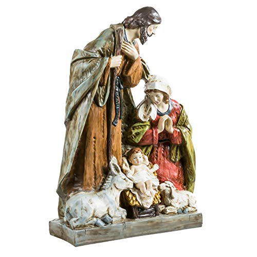 Evergreen Garden Winter and Holiday Inspirational Decor 32 Inch Hand Painted Nativity Statuary with Mary Baby Jesus and Joseph Christmas Decor for Indoor Outdoor