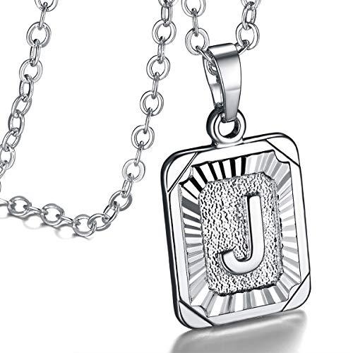 FOCALOOK platiniert Damen Collier Rechteck Buchstabe J Anhänger Halskette Silberne Rolokette 50+5cm verstellbar - Initiale Modeschmuck Geschenk für Geburtstag