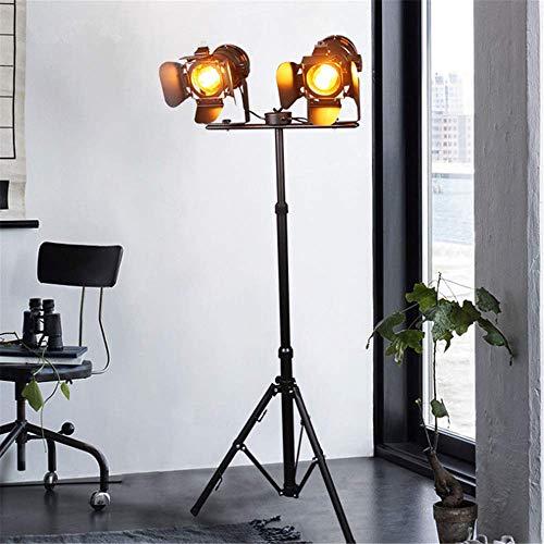 Vloerlamp Industriële Retro Steampunk Koplamp In hoogte Verstelbare Roterende Schaduw E27 Dubbele Hoofd Zwart Bakken Kleur Smeedijzeren Vloerlamp met Voet Schakelaar voor Woonkamer