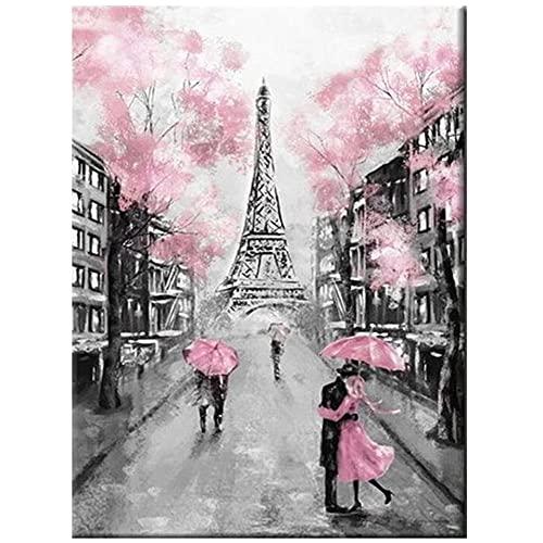 Adultos 5D DIY Kit De Pintura De Diamante Con Taladro Completo, Día Lluvioso Paraguas Rosa 25x30cm Diamante Arte Bordado De Punto De Cruz Arte Manualidades Para mosaico decoración del hogar