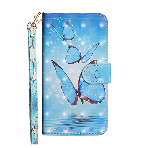 CUagain für Samsung Galaxy S20 FE/S20 Lite 4G 5G Hülle Glitzer 3D Leder Kartenfach Silikon Klappbar Flip Tier Hüllen Magnetisch Handyhülle Bumper PU Cover Hülle Mädchen Damen Blauer Schmetterling