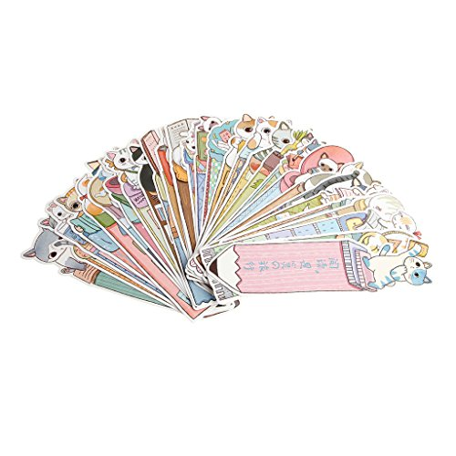 Fogun - Marcapáginas de papel, 30 unidades, diseño de gato