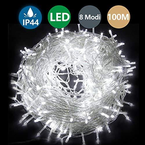 Hengda LED Lichterketten 600er LED 100M Wasserdichte Dekorative 8 Modi Kaltesweiß Lichter für Weihnachts Schlafzimmer Garten Terrasse Party Hochzeit