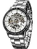 Alienwork IK Reloj Automático Hombre Mujer Plateado Pulsera de Metal Acero Blanco Esqueleto