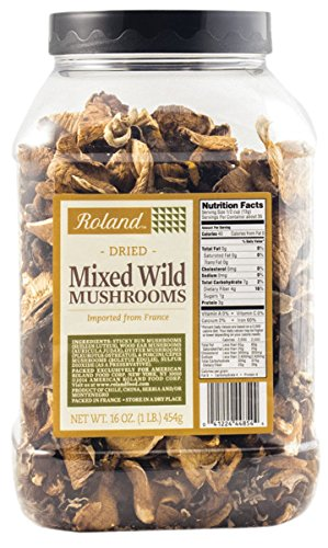 Roland Foods Dried Mixed Wild Mushrooms, Specialty Imported Food, 1-Pound Tub