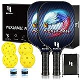 Heness Pickleball Paddles, Pickleball Set, Pickleball Paddle Set of 2 Pickleball Rackets, 4 Pickleball Balls, Pickleball Bag