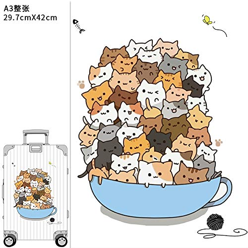 YUHANG Cartoon cute suitcase stickers large whole suitcase trolley refrigerator box wall decoration cat stickers waterproof