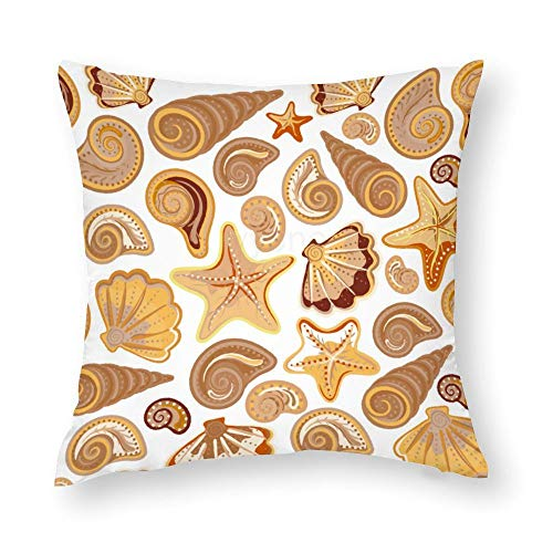 YY-one Decorative Throw Pillow Covers Seamless Pattern with Starfish And Conch Decorative Throw Pillow Case Cushion Cover Cotton For Sofa Couch Chair Seat,Square 22 X 22 Inches
