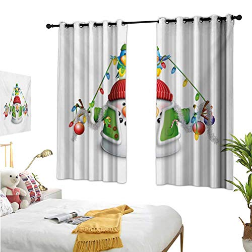 Mozenou Snowman,Window Blackout Curtains,Cartoon Whimsical Character with Christmas Garland Blue Bird Various Xmas Elements Multicolor,Ideal for Living Rooms and bedrooms52x54 Inch