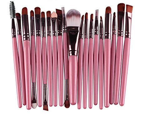 20 stks Cosmetische Borstels Kit Eye Make-up Borstels Oogschaduw Make-up Borstels Set Eyeliner Blending Brush Make-up Gereedschap roze