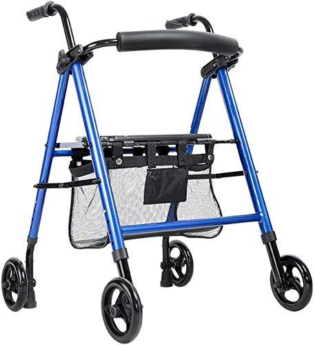 Älterer faltbaren Rollstuhl for Oma Opa Gif vier fahrbaren Rollator Walker mit Kabeln Bremsen, Gepolsterte Sitzfläche und Rückenlehne, Under Korb, Leichte faltbare Aluminiumrahmen, Warenkorb Comfo