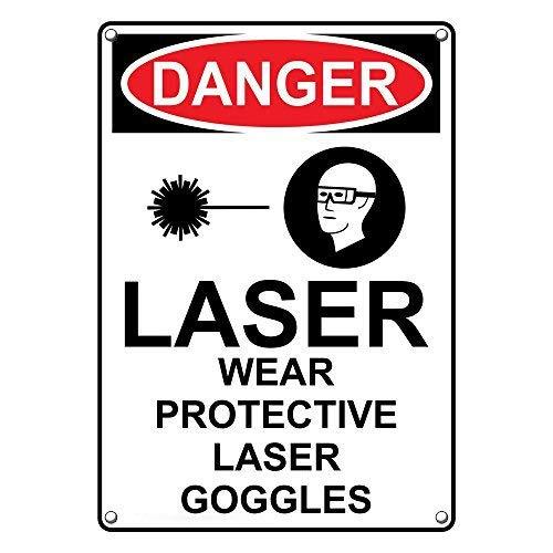Vertikale OSHA Danger Laser Wear Schutzbrille Warnschilder und Schild Aluminium für Privathaushalt, Hof, lustige Geschenke, 20,3 x 30,5 cm