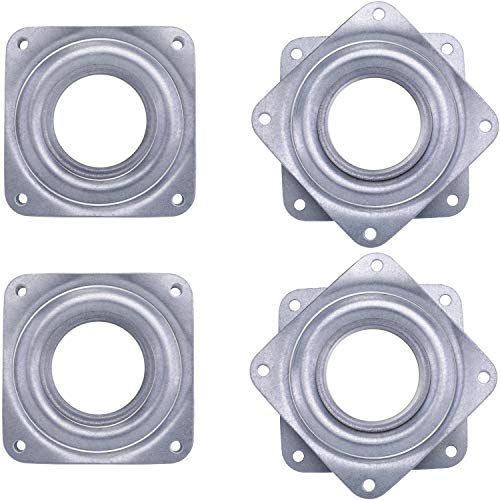 4 Pieces 3 Inch Square Lazy Susan Turntable Bearings Rotating Bearing Plate with 150 Pound Capacity 5/16 Inch Thick Silvery