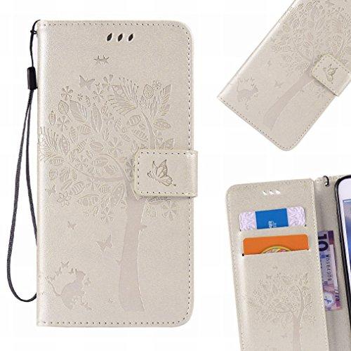 LEMORRY Hülle für Sony Xperia M5 Hülle Tasche Geprägter Ledertasche Beutel Schutz Magnetisch Schließung SchutzHülle Weich Silikon Cover Schale für Sony M5 (E5603,E5606,E5653), Glücklicher Baum Gold