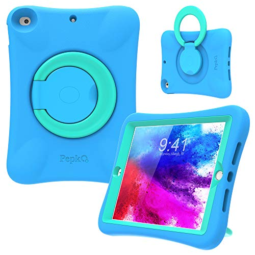 PEPKOO Kids Case for iPad 8th 7th Generation 10.2 inch 2020 2019 – Lightweight Flexible Shockproof, Folding Handle Stand, Full Body Rugged Boys Girls Cover for Apple iPad 8th 7th Gen, Blue Mint