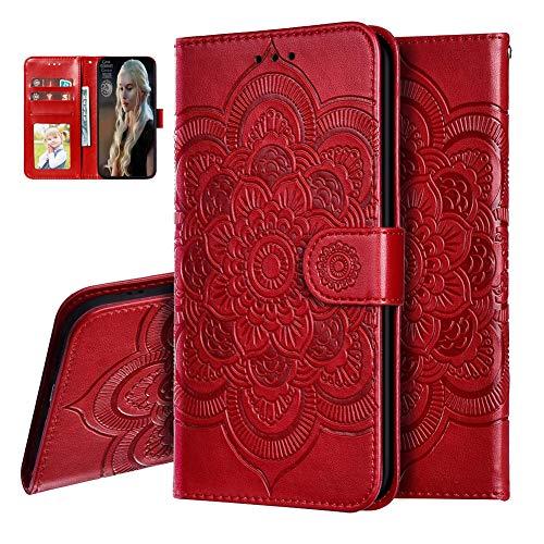 IMEIKONST Samsung M20 Custodia Mandala Embossed Premium Phone Cover a Libro in Pelle PU Flip Portafoglio Holder Protettiva Magnetic Stand Caso per Samsung Galaxy M20 Mandala Red LD