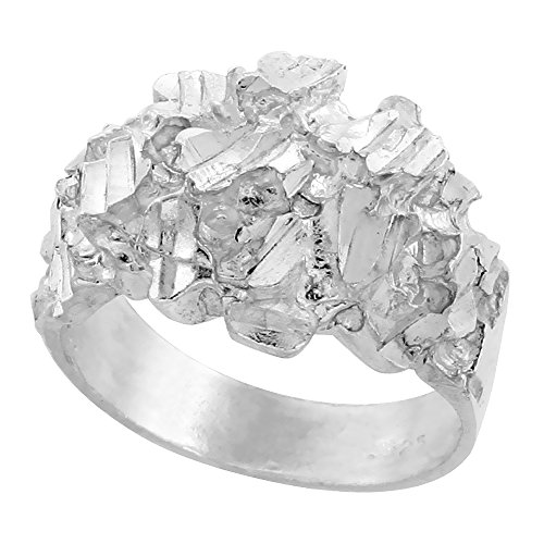 Sterling Silver Nugget Ring Diamond Cut Finish 9/16 inch wide, size 9