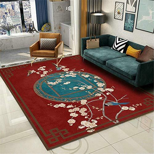 AU-SHTANG alfombras Salon Grandes Alfombra roja, Estilo Chino Patrón de Ciruelo Ropa Anti-ácaro Lavado de Agua Alfombra antiestática alfombras de Pasillo -Rojo_120x160cm