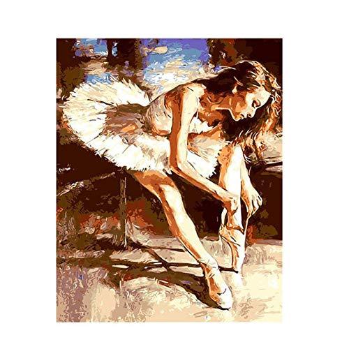 zxddzl Mädchen gerade Meer abstrakte Liebhaber malerei DIY digital tanzen malerei wandbilder für wohnkultur 40x50 cm kein Rahmen Ballett malerei 16
