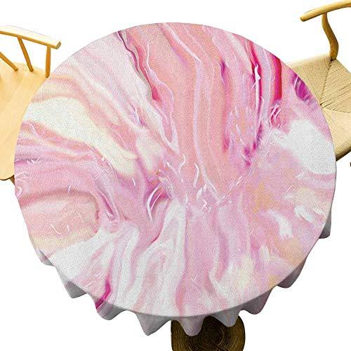 VICWOWONE Mantel de mármol – 70 pulgadas de fiesta redonda mantel acuarela estilo pincelada colores mezclados en color turbio exhibición artística disfrutar de comedor magenta coral crema
