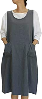 Womens Casual Loose Cotton Linen Tunic Dress, Vintage Apron Overall Pinafore Midi Dress With Pockets S-2XL