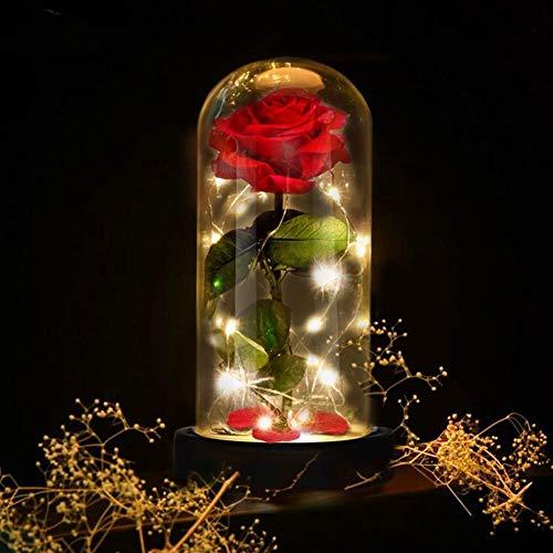 TXOZ Red Silk Rose LED con pétalos caídos en cúpula de cristal sobre una base de madera para bodas, cumpleaños, día de San Valentín (negro, con caja de regalo)