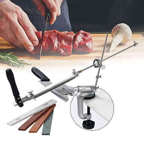 PaNt Affilacoltelli in acciaio inox a 360°, rotazione ad angolo fisso affilacoltelli Pro RX-008, set professionale di utensili da cucina con 4 pietre per affilare