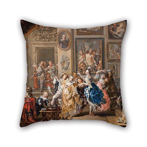 Artistdecor pittura a olio Johann Georg Platzer–Dancing scena con Palace interior–Federa 45,7x 45,7cm/45da ragazzi 45cm per Bench Home Office Kids Girls Home Theater con ogni lato