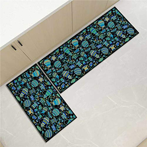 OPLJ Küchenmatte Anti-Rutsch-Türmatte Modernes Wohnzimmer Balkon Badezimmer Geometrisch bedruckter Teppich Waschbare Fußmatte A15 50x160cm