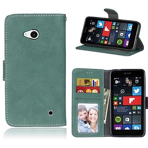 Microsoft Lumia 640 Hülle, SATURCASE Retro Mattiert PU Leder Flip Magnetverschluss Brieftasche Standfunktion Schützend Tasche Schutzhülle Handycover für Nokia/Microsoft Lumia 640 LTE (Grün)