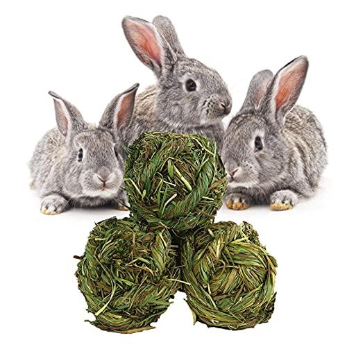 Tagge 3 bolas de hierba natural, bolas de masticar de hierba timoteo, juego de molienda de hierba, juguetes masticables para conejos, hámster, cobayas, jerbos, limpieza de dientes, 7,5 cm