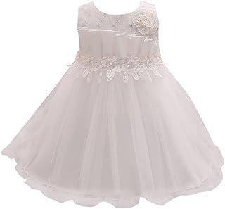 Zhuhaitf 高品質 Newborn Baby Girls Sleeveless Dress Crochet Knit Flowers Princess Formal Party Wedding Bridesmaid Tulle ドレス