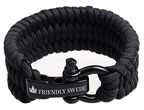 The Friendly Swede Trilobite Extra Beefy 550 LB Paracord Survival Bracelet with Stainless Steel Black Bow Shackle Available in 3 Adjustable Sizes