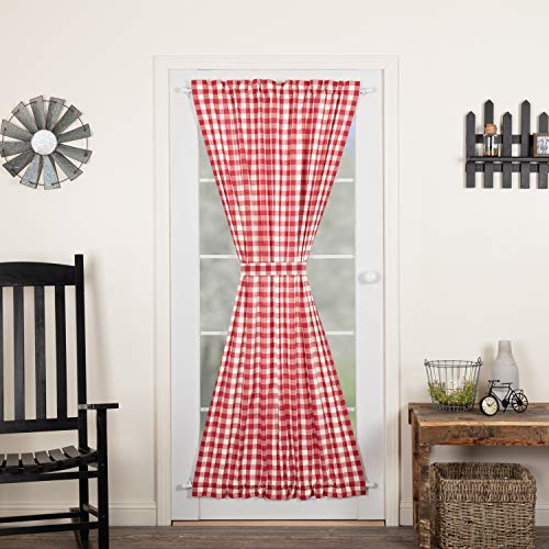 VHC Brands Annie Buffalo Check Cotton Farmhouse Curtains Rod Pocket Tie Back(s) Door Panel, 72x40, Red