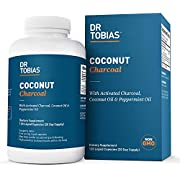Dr Tobias Coconut Charcoal - Best for Detox, Gas & Bloating with Activated Charcoal, Organic Coconut & Peppermint Oil (120 Count)