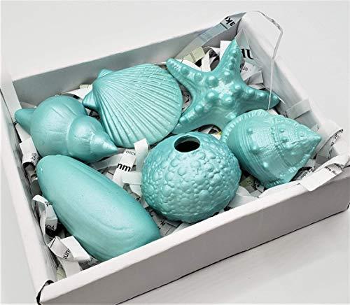Coastal Christmas Decor Set of 6 Ceramic Seashells, Beach Christmas Decor 6PC Aqua Painted Ceramic Shells for Stocking Stuffers