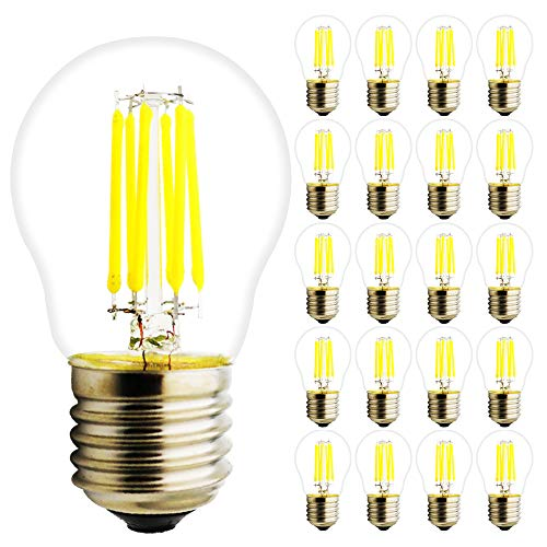 G45 6W LED Bulb Nicht Dimmable E27 LED Lampe Glas Birne Filament Glühbirnen für Kronleuchter und Wand Lampe, Kühlweiß 6000K, 450lm, 360° Abstrahlwinkel, 20 Stück