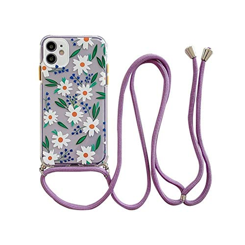 Glqwe Funda de Flores de Lanyard Transparente Funda para teléfono para iPhone 12 Mini Pro MAX 6 7 8 11 S Plus X S XR Máx MAX con Cubierta Suave Cubierta Suave (Color : I, Material : For iPhone X)