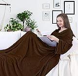 DecoKing Kuscheldecke mit Ärmeln 150x180 cm braun Microfaser TV Decke weich Tagesdecke Lazy