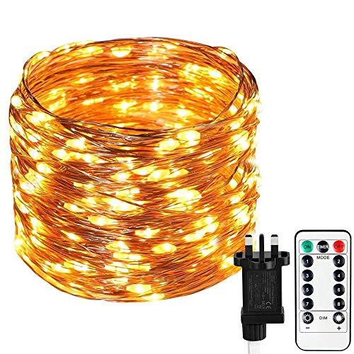 Koopower Fairy Lights Plug in, 22m/72ft 200 LEDs Main Powered Garden Fairy Lights 8 Mode Copper Wire String Lights with Remote &Timer for Indoor Outdoor Christmas Party Wedding Decorative(Warm White)