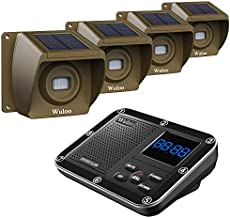 Solar Driveway Alarm Wireless Outside 1800ft Range, Outdoor Motion Sensor & Detector Driveway Alert System with Rechargeable Battery/Weatherproof/Mute Mode(1&4-Brown)
