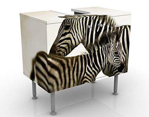 Meuble sous Vasque Design Zebra Pair 60x55x35cm, Petit, 60 cm de Large, réglable, Table de lavabo, Armoire de lavabo, lavabo, Meuble Bas, Baignoire, Salle de Bains, Armoire de Salle Bains
