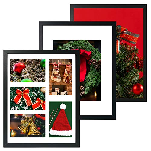 SESEAT 11x14 Black Picture Frames Pack of 3, Display 8x10 or Five 4x6 Photos with Mat or 11x14 Without mat, Frames for Wall Mounting