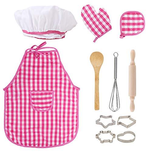 ZoneYan Chef Set Delantales para Nios, Delantal de Cocina para Nios, Conjunto de Delantal Infantil, Nios Delantal y Gorro de Cocinero, Perno de Balanceo y Cortador de Galletas (Rosa)