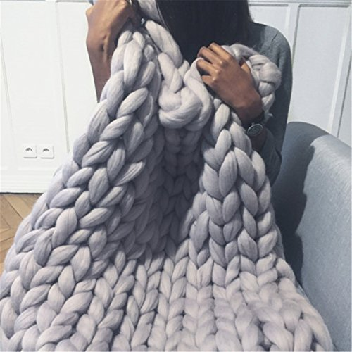 HomeModa Studio Light Grey Chunky Knit Throw Blankets, Super Bulky Soft Warm Braid Knit Rug Couch...