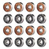 Gsrhzd Mini rodamientos, Rodamientos de Bolas en Miniatura, 16 cojinetes metálicos para ruedas de monopatín, bicicletas y patines, y varias máquinas industriales (amarillo y negro)
