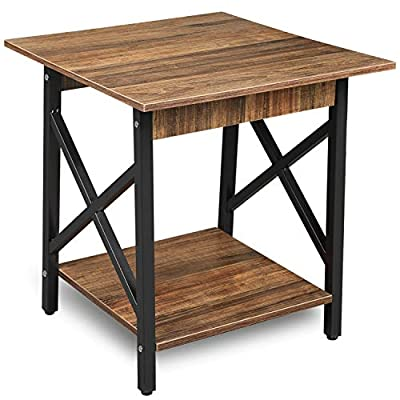 GreenForest End Table 24'' Industrial Design Side Table with Storage Shelf for Living Room, Easy Assembly, Rustic Walnut