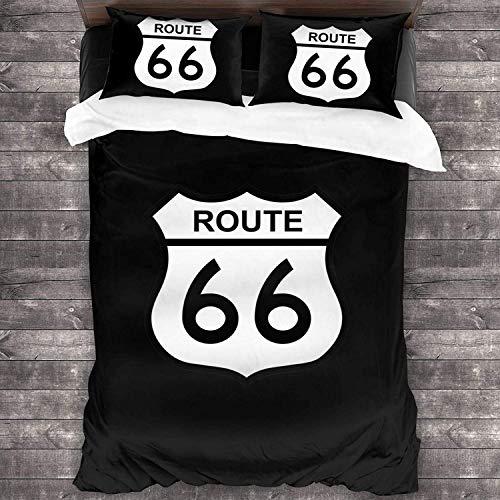 'N/A' Trend Route 66 - Juego de ropa de cama de 3 piezas para cama de matrimonio, ultra suave, transpirable, para dormitorio, 2 piezas, funda de almohada y funda de edredón